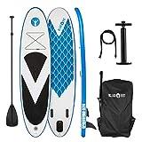 Klarfit Spreestar 320 aufblasbares Paddelboard SUP-Board-Set 320x12x81 blau-weiß