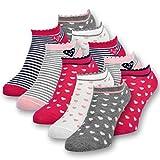 10 Paar Kinder Sneaker Socken Mädchen Kindersocken Baumwolle - 56270 (31-34)