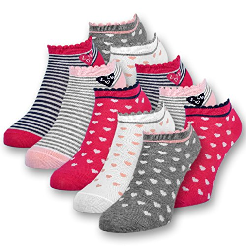 10 Paar Kinder Sneaker Socken Mädchen Kindersocken Baumwolle - 56270 (27-30)