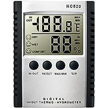 DLAND meteo Termometri, Umidit¨¤ termometro digitale Igrometro per montaggio a parete del monitor del sensore termostato dell'interno e della temperatura esterna per casa, ufficio