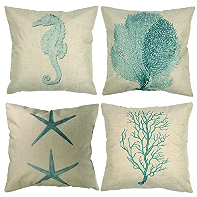 "Luxbon Nautical Themed Seaside Set of 4 Light Green Cushion Cover Durable Cotton Linen Throw Pillow Case Seahorse Coral Starfish Seaweed Shabby Vintage Chic Print 18""x18"" 45x45cm produced by Luxbon - quick delivery from UK."