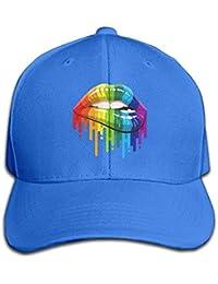yang shucheng Gay Homosexual Lesbian Rainbow Lips Pride Snapback Sandwich  Cap Black Baseball Cap Hats Adjustable fe24392c606