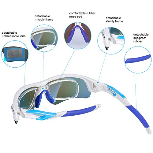 Navestar Radsportbrille Sport Sonnenbrille für Herren und Damen, Fahrradbrille mit 5 Austauschbare Lens UV400 Sportbrille für Radfahren, Fahren, Motorradfahren, Klettern, Angeln, Wandern Weiß-Blau - 2