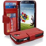 Cadorabo - Book Style Hülle für Samsung Galaxy S4 (I9500) - Case Cover Schutzhülle Etui mit 3 Kartenfächern in INFERNO-ROT