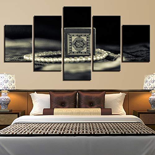 Mddrr Leinwand Hd Druck Malerei Für Wohnzimmer Dekor 5 Stücke Islam Heiligen Quran Bilder Wandkunst Muslim Koran Poster Modulare Rahmen Poster