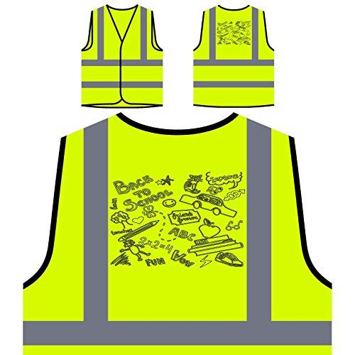 Zurück zu Schule Katze Abc Lustiges Geschenk Neuheit Personalisierte High Visibility Gelbe Sicherheitsjacke Weste d522v