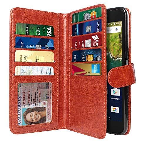 Huawei Google Nexus 6P Wallet Schutzhülle aus Leder, Premium Magnetisches Cover mit Extra Sichtschutz Klappe Kartenschlitz Halterung, Hot Pink, Dark Brown Double Flap Wallet Snap Button & Strap -