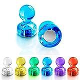 Push Pin Magnete | im praktischen Set (10, 30, 60 oder 120 Stück) | starke Neodym Magnete für Magnettafel, Whiteboard, Kühlschrank etc. | viele Farben wählbar (10 Stück Blau)