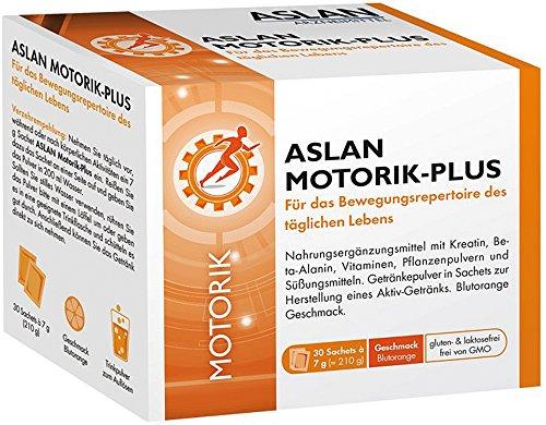 ASLAN Motorik-Plus (30 Sachets) – Nahrungsergänzung mit 1000 mg Beta-Alanin und 3000 mg Kreatin für Ihre sportlichen Ziele I Muskulatur unterstützen I Beweglichkeit im Alltag