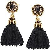 Joyas incrustadas mujeres pendientes de moda Rhinestone largo cuelga borla gota de oreja