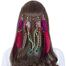 44f833c7055099 AWAYTR Jahrgang Feder Stirnband Indisch Kopfschmuck Boho Hippie Perlen  Maskerade Schick Kleid Haar Zubehör Zum Frau