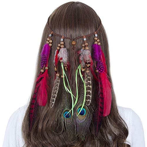 Kostüm Kopfschmuck Indische - AWAYTR Jahrgang Feder Stirnband Indisch Kopfschmuck Boho Hippie Perlen Maskerade Schick Kleid Haar Zubehör Zum Frau Mädchen