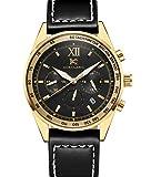 aokulasic Herren Fashion Chronograph Quarz Wasserdicht Armbanduhr mit besonderem Multifunktions-Zifferblätter zur (Gold Schwarz)