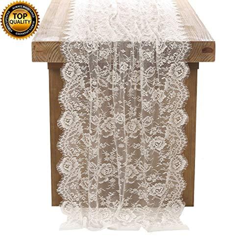 DÉCOCO Weiße Spitze Tischdecke 75 * 300cm in Spitzenauflage Vintage Bestickte Spitzeauflage für Hochzeit Vintage Rezeption Dekor Sommer Outdoor Party Boho Hochzeit Tisch Dekor (Tischdecke Dekor)