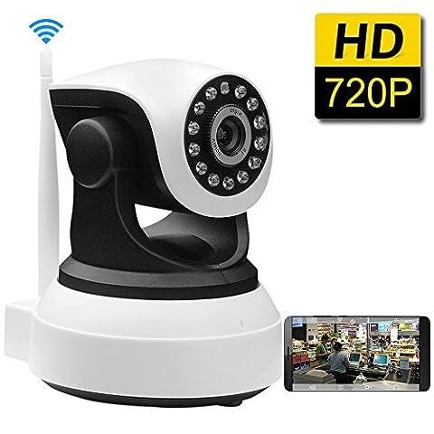 SDETER 720P IP Wireless Wifi Camera Plug/Play Pan/Tilt 2-Way Audio Night Vision Home Surveillance Security Alarm System(UK