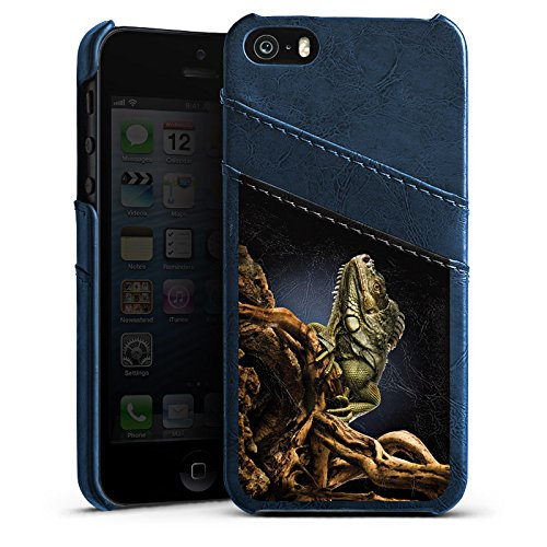 Apple iPhone 4 Housse Étui Silicone Coque Protection Saurien Reptile Animal Étui en cuir bleu marine