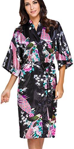 Schwarze Satin-robe (FLYCHEN Damen Satin Kimonos Bademantel lange Nachtwäsche Robe mit Peacock Morgenmantel Schwarz L)