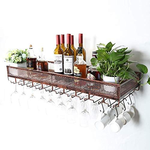 Weinregal an Der Wand Montiert Weinglas Rack Home Bar Kreative Metall Hängenden Becher Lagerregal Einfache Retro Industriellen Stil,Bronze,120 * 35cm -
