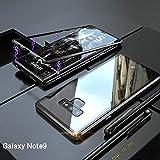 Samsung Galaxy Note 9 Hülle, [Neuste Design] [Magnetische Adsorption Technologie] [Metallrahmen] Ultra Dünn Glas-Telefon-Kasten Schutzhülle Anti-Kratzer Handyhülle für Samsung Galaxy Note 9 - Schwarz