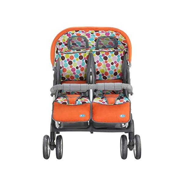 Baby Twin Stroller Buggy Pushchair- Double Stroller,Side by Side Double Pushchair, from Birth  With elliptical frame tubes in contemporary angles. Fully reclinable backrest using one hand easy adjust. Features elegant stay clean wheels with repeat logo details to match name seat graphic. 1