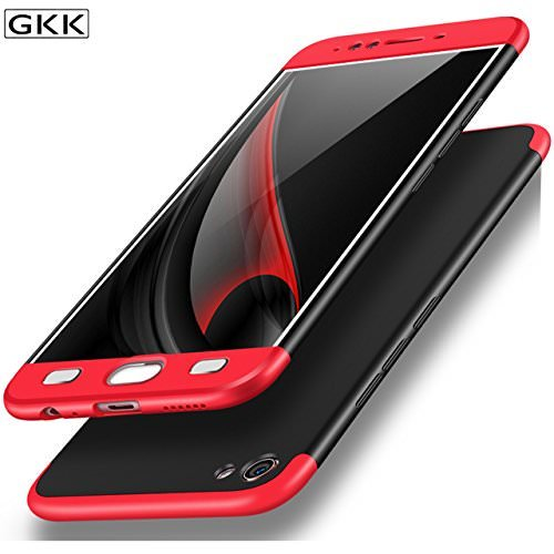 Mobiclonics 3 in 1 Double Dip Back Case Cover for Oppo A57 (Black with Red)
