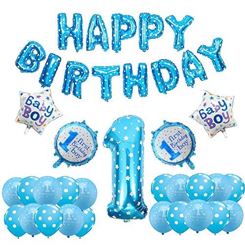 Dekorationen für Jungen Happy Birthday Banner Aufblasbare Helium Folienballons Geburtstag Party Dekoration Liefert Blau ()