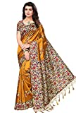 Oomph! Women's Mysore Silk Printed Kalamkari Sarees with Tassles - Mustard Yellow