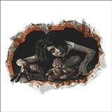 Eizur Halloween Horror Ghost Wandaufkleber Abnehmbare 3D Wandsticker Weiblicher Geist Wanddeko Dekoration Halloween Aufkleber Wandtattoos Wandabziehbilder für Home Deko 45 * 60cm - Typ 1
