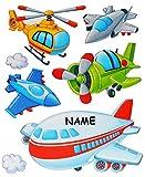 7 tlg. Set: Fensterbild / Wandtattoo - Flugzeug & Helikopter - Wolken - incl. Name - Fahrzeuge - Fensterbilder / Fenstersticker - selbstklebend Fensterdeko / Deko - Mädchen Jungen Kinder - Flugzeuge