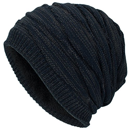 Kuyou Winter Beanie Mütze Slouch Strickmütze mit warmem Fleece Innenfutter (Navy)