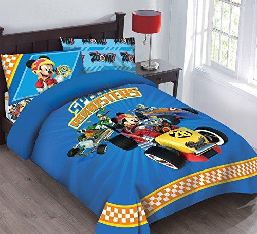 Disney Mickey Mouse Speed Roadster Bettwäsche-Set mit Spannbetttuch, Polyester, Blue/Yellow/Red, Twin (Mickey-mouse-twin Bettwäsche)