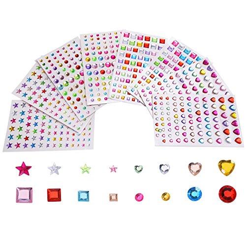 Outus Fogli Adesivi Autoadesivo Strass Assortiti Colori Forme Varie, 4 Taglie, 8 Fogli, 674 Pezzi