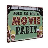 PHOTOLINI Blechschild Movie Party 20x30 cm Retro Metallschild Spruch Nostalgieschild
