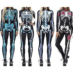 Disfraces De rol, Innovadores Monos De Manga Larga Esqueleto De Calavera De Halloween 3D Digital Print para Mujeres