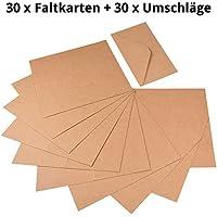 60piezas papel kraft–Set de tarjetas y sobres de cartón Natural para felicitación de y tarjetas de felicitación, tarjetas de invitación, tarjetas de Navidad para diseñar creativa Incluso