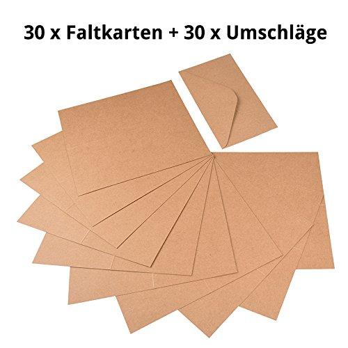 30tarjetas plegables, formato: 214x 107mm cerrado, 214x 214mm Abierto; 30sobres DIN lang 110x 220mm. de alta calidad caja de cartón/papel de estraza. para diseñar incluso natural de tarjetas de felicitación, invitaciones, tarjetas de agradeci...