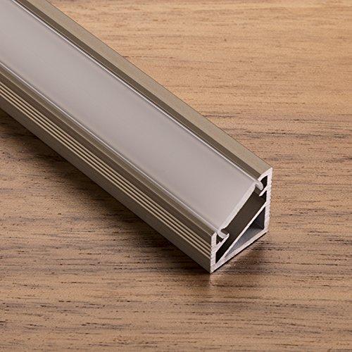 LED Profil-66 Edelstahloptik mit opalfarbiger Abdeckung 2000 x 14,5 x 16,5 mm für LED Streifen Aluminium Eckprofil Stripes von SO-TECH®