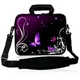 Luxburg® Design Laptoptasche Notebooktasche Sleeve mit Schultergurt und Fach für 17,3 Zoll, Motiv: Schmetterlinge lila