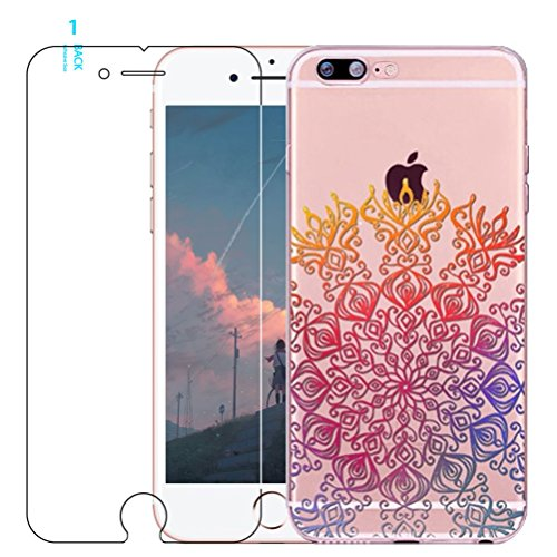 iphone 7 Plus custodia con protezione schermo in vetro temperato, BLOSSOM01ultra sottile in gel morbido colorato mandala fiore modello cover in TPU e silicioe con cute alcanna per iphone 7 Plus, #03, #12