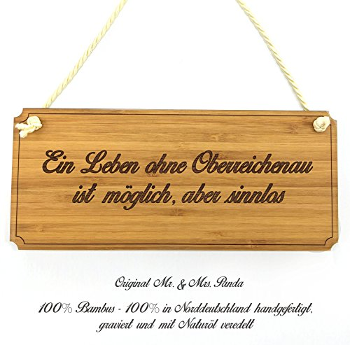 Mr. & Mrs. Panda Türschild Stadt Oberreichenau Classic Schild - Gravur,Graviert Türschild,Tür Schild,Schild, Fan, Fanartikel, Souvenir, Andenken, Fanclub, Stadt, Mitbringsel