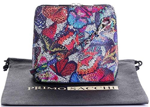 In pelle italiana, Small/Micro croce corpo borsa o borsetta borsa a tracolla.Include una custodia protettiva di marca. Farfalla multi