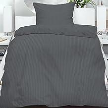 2 teiliges Set Seersucker Sommer Bettwäsche Übergröße 155x220 + 80x80 cm einfarbig bügelfrei , Farbauswahl:Anthrazit