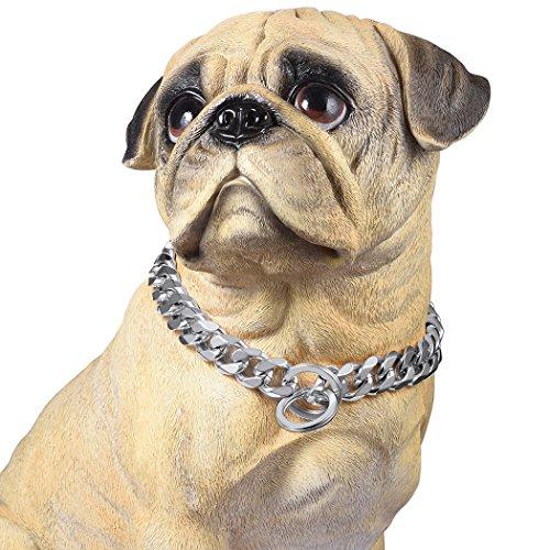 PROSTEEL Hundehalsband Starke Edelstahl Kette 19MM Kragen Panzerkette Trainings Kragen Halskette für Hund Silber Haustier Hals Seil, Länge 46cm