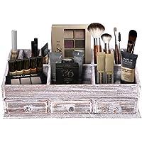 Organizador de escritorio de madera rústica para el hogar o la oficina - Organizador de maquillaje y almacenamiento - 3 cajones y 6 compartimentos - Organizador de espacio de trabajo blanco rústico