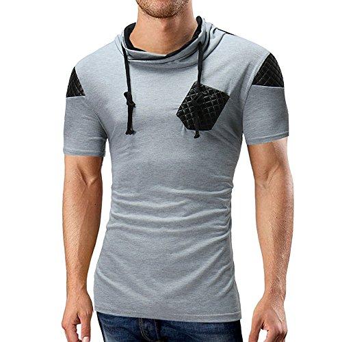 Eaylis-Herren tops Lässige Kurzarm T-Shirt Hemden Sommer Nahttasche mit kurzen Ärmeln