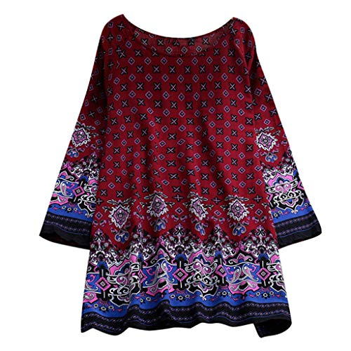 Damen Frühling und Sommer Tops,Rifuli® Summer Fashion Bohemian Printed Rundhals-Minikleid Kapuzenpullover T-Shirts Bekleidung Tops Blusen
