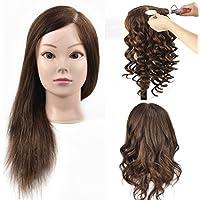 Cabeza de maniquí para formación de peluquería y cosmética, busto con cabello humano 100 %