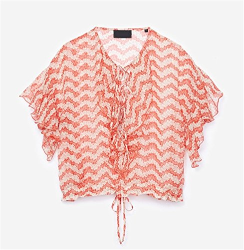 Sexy Manches Courtes Papillon Angel Sleeve Lacé Lacets Laçage à Encolure Col en V à Fleurs Volants Ourlet Blouse Chemisier Shirt Chemise Haut Top Rouge Blanc Rouge Blanc