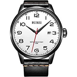 BUREI Unisex Quartz Wrist Watches Date Analogue with Big White Face Arabic Numerals and Black Leather Strap