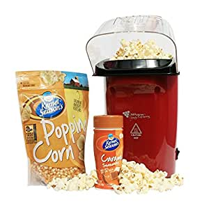 Healthy Hot Air Popcorn Maker Kit with Popcorn and Popcorn Seasoning - Popcorn Machine